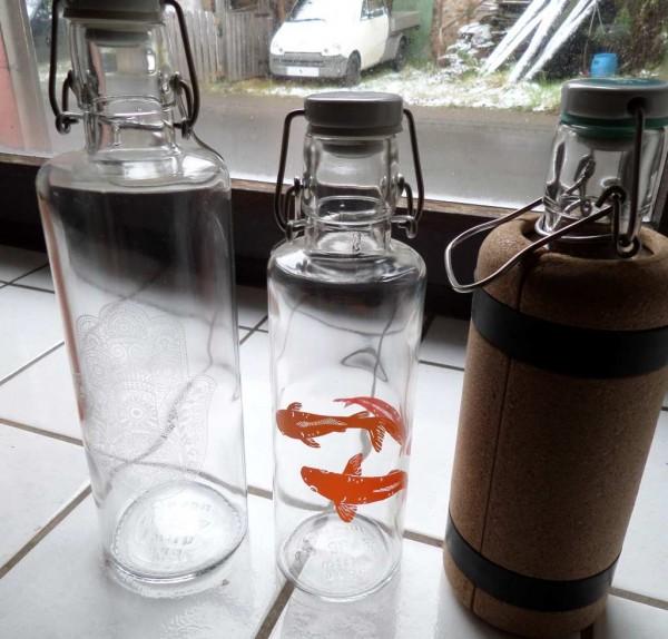 Glas Trinkflasche 0,6 L / 1L plastikfrei, mit Keramikkorken